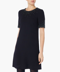 Heaven dark navy beaded tunic dress