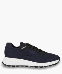 Blue leather tech sneakers