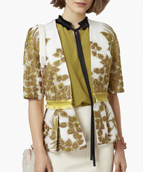Multi-coloured silk blend cloque jacket