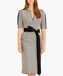 Monochrome pure wool herringbone dress