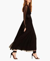 Black pure silk tulle midi dress