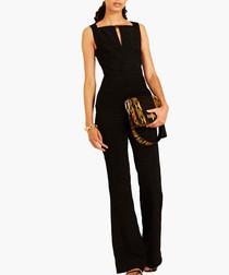 Black silk blend jumpsuit