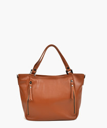 Cognac leather grab bag