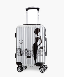 Girly silver-tone cabin suitcase 52cm