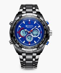 Mega Sport midnight blue metal watch