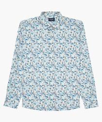 Blue printed cotton long sleeve shirt