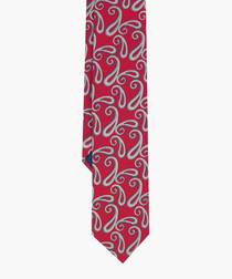 Red pure silk patterned tie