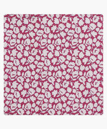 Pink pure silk patterned pocket square
