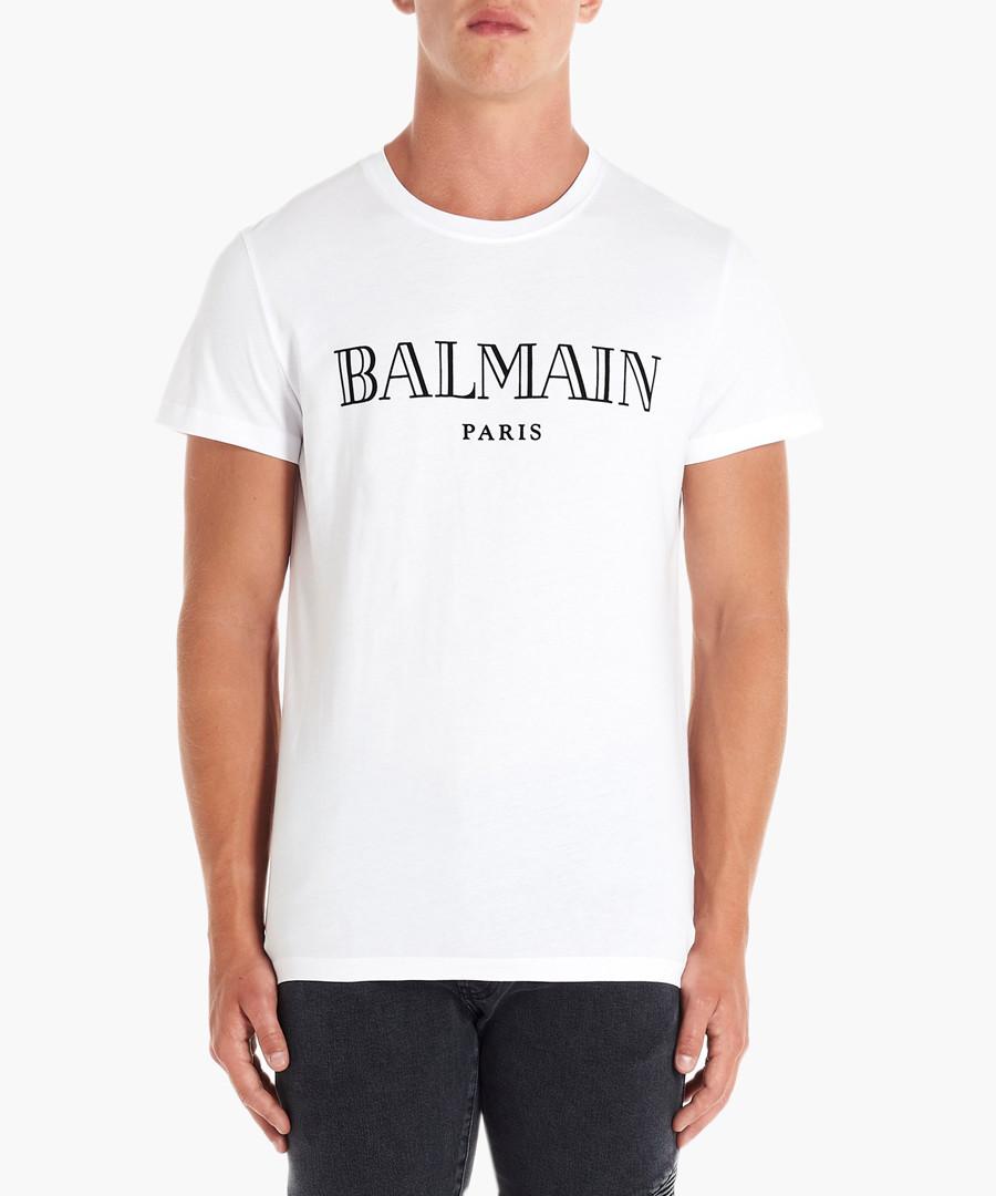 White pure cotton logo T-shirt Sale - balmain