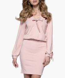 Pink powder bow detail dress