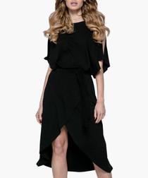 Black cotton blend split sleeve dress