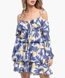 Blue & yellow printed tiered mini dress