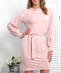 Pink powder cotton blend tie-waist dress