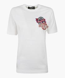 White pure cotton motif T-shirt
