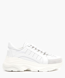 White leather chunky sneakers