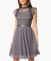 Grey lace panel dress