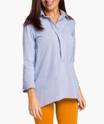 Blue semi-button tunic
