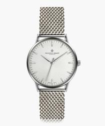 Everest silver-tone steel mesh watch