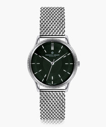 Broad peak silver-tone steel mesh watch