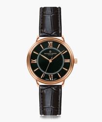 Nanda devi black moc-croc leather watch