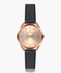 Kanjut sar black leather watch