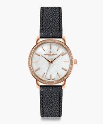 Kamet black leather watch