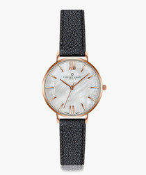 Trivor black leather watch