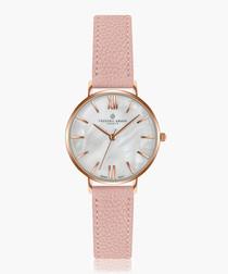 Trivor lychee pink leather watch