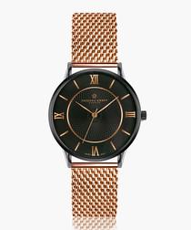 lhotse rose gold-tone steel mesh watch