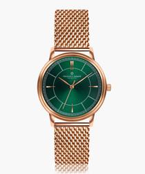 Manaslu rose-tone & green mesh watch