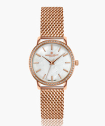 Kamet rose gold-tone steel mesh watch