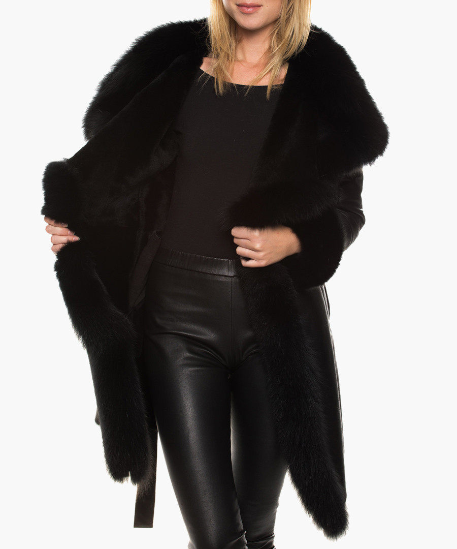 Lottie black sheepskin & fox fur coat Sale - giorgio & mario