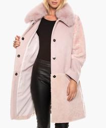 Flaviana rose wool blend fur coat