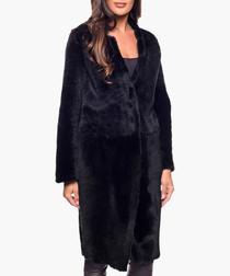 Olinka black sheepskin coat