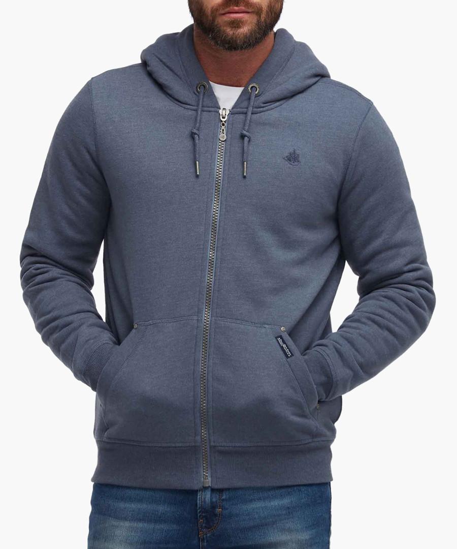Smokey blue cotton blend zip-up hoodie Sale - dreimaster