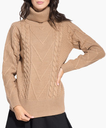 Camel cashmere blend roll neck jumper