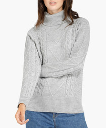 Flannel cashmere blend roll neck jumper