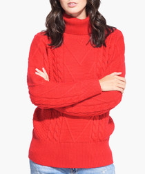 Red cashmere blend roll neck jumper