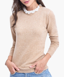 Camel cashmere blend lace trim jumper