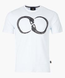 White serpent printed T-shirt