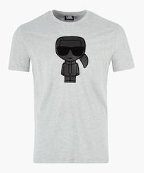 Grey & black logo motif T-shirt