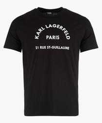 Black logo slogan printed T-shirt