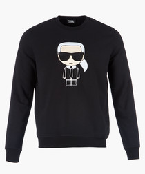 Black logo motif long sleeved jumper