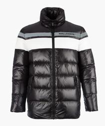Black colour block quilted coat
