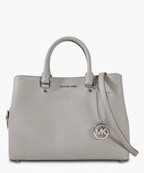 Savannah Large Satchel Bag in Pearl Grey Saffia Leather