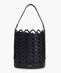 Dorie Medium Bucket Bag in Black Leather