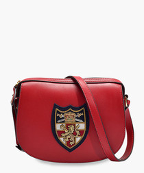 Bullion red crest leather crossbody