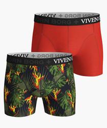 2pc Red & jungle pattern boxers set