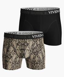 2pc Black & python pattern boxers set