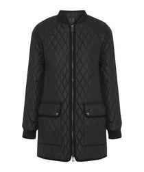 Black quilted zip-up coat